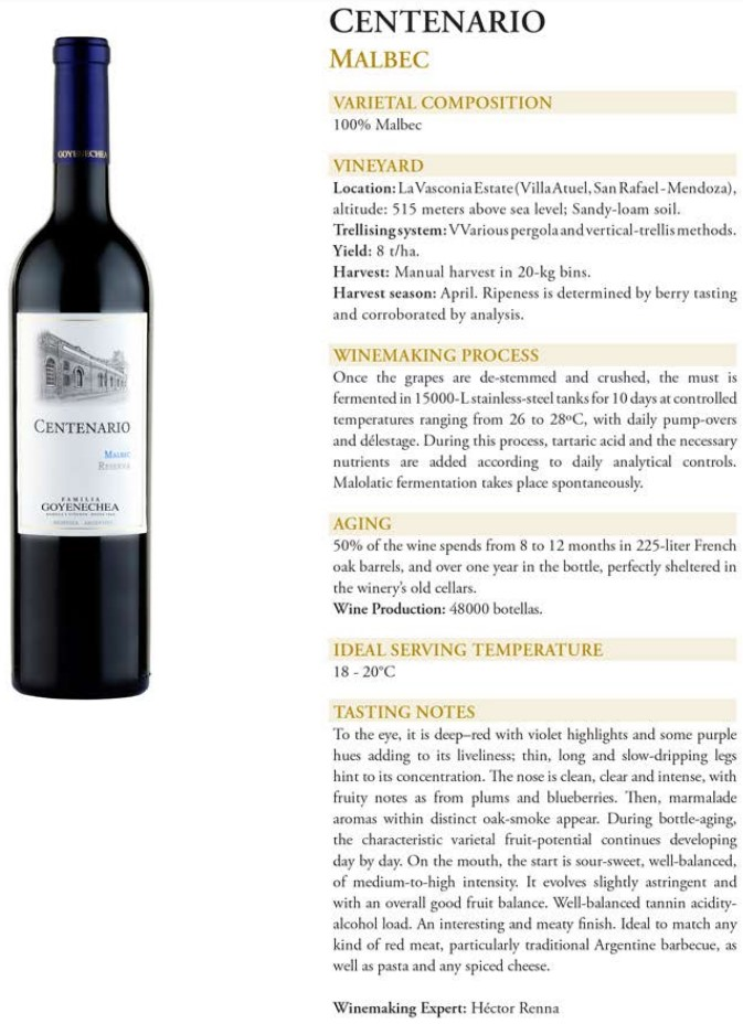 Centenario Malbec Reserva Data Sheet