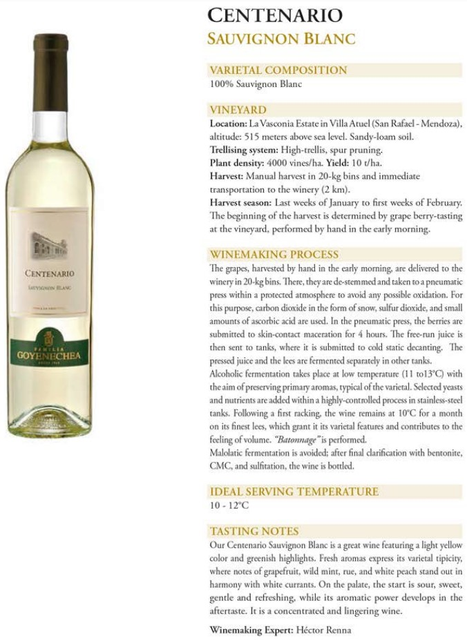 Centenario Sauvignon Blanc Data Sheet