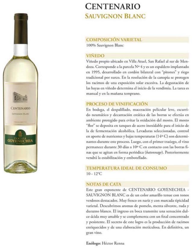 Centenario Sauvignon Blanc Ficha Técnica