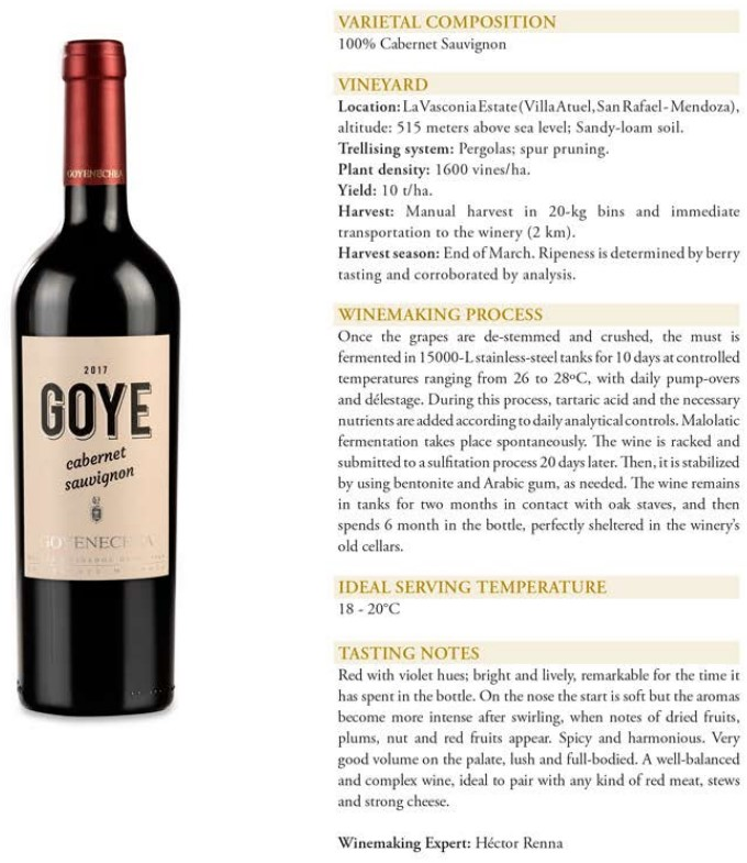 Goye Cabernet Sauvignon Data Sheet