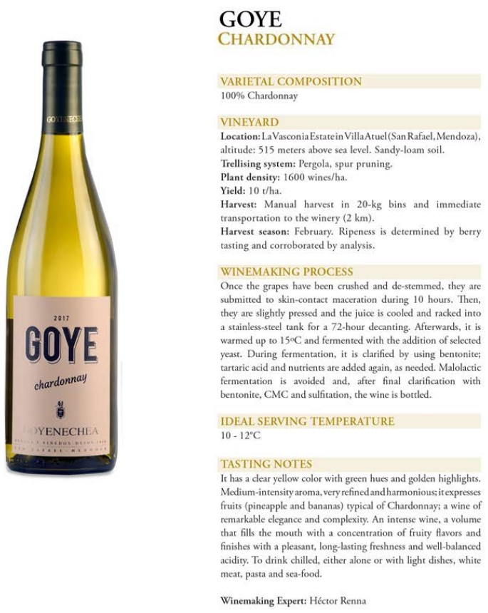 Goye Chardonnay Data Sheet