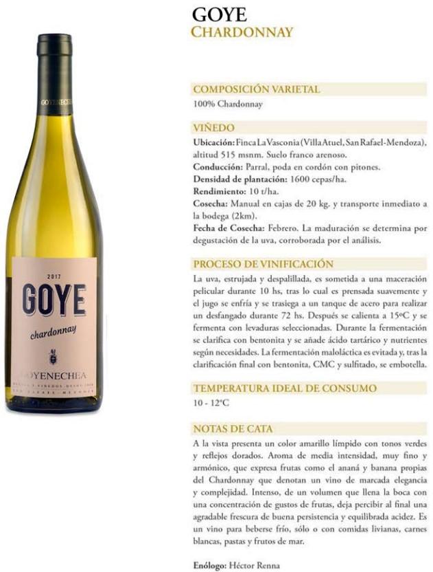 Goye Chardonnay Ficha Técnica