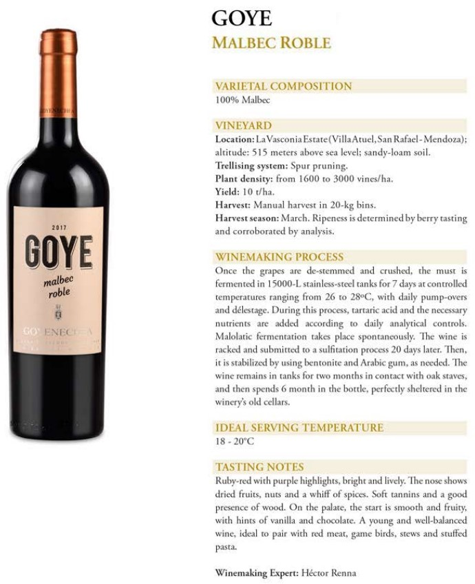 Goye Malbec Roble Data Sheet