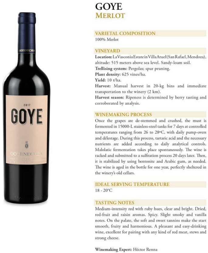 Goye Merlot Data Sheet