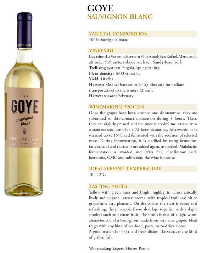 Goye Sauvignon Blanc Data Sheet