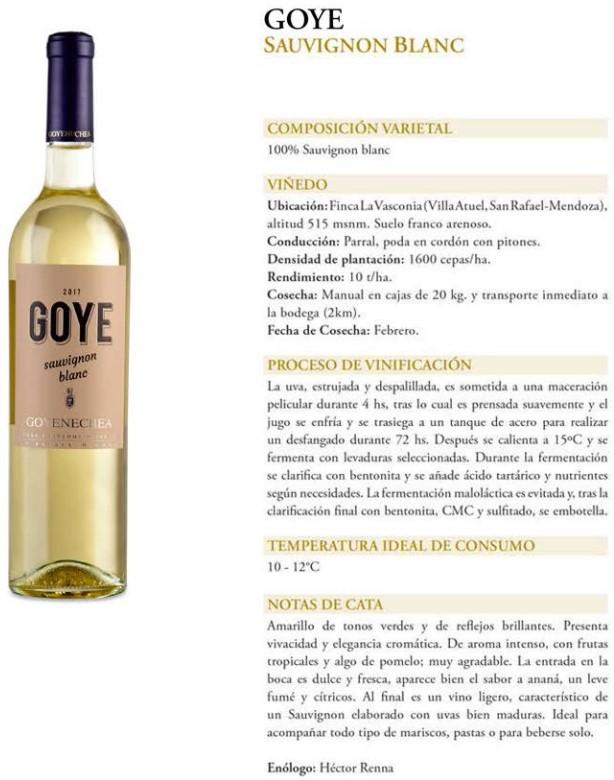 Goye Sauvignon Blanc Ficha Técnica