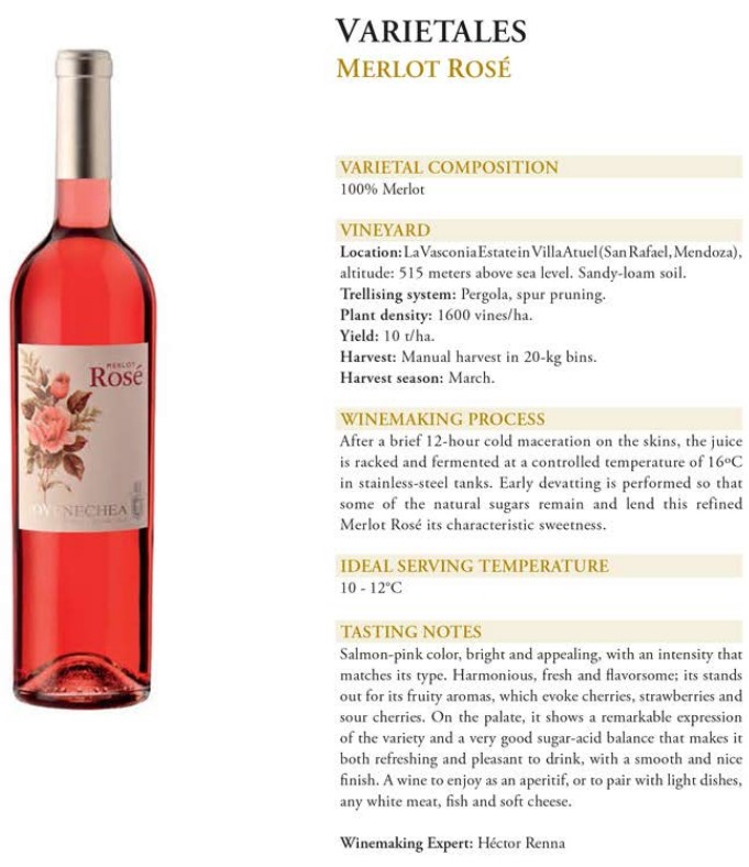 Varietales Merlot Rose Data Sheet